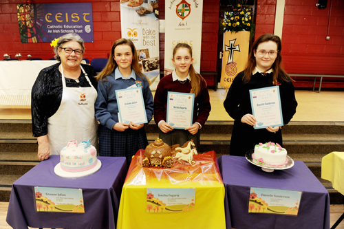 Winners of the Junior Category Bake Off with Catherine Leyden of Odlums.
